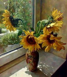 Sunflower Colors, Sunflower Art, Watercolor Flowers, Watercolor Art, Kinkade Paintings, Rose Oil Painting, Still Life Art, Flower Photos, Flower Vases