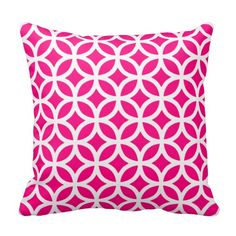 Hot Pink Geometric Throw Pillow