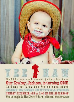 Cute cowboy themed 1st birthday invitation. The turquoise and red color scheme keeps things bright and childlike while still keeping true to the cowboy theme. I love the cowboy hats and red handkerchiefs instead of the standard party hats. Well done!