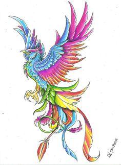 New Multi Color Phoenix Tattoo Design                                                                                                                                                                                 Más
