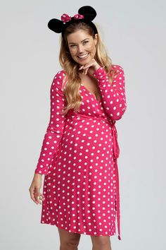 Grab your Mickie and head out in this Halloween's favorite maternity costume. Become Minnie Mouse with this polka dot maternity dress and a set of ears.