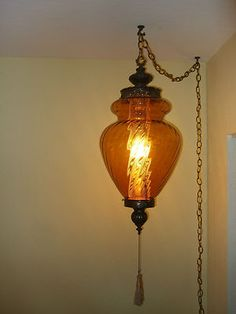 Vintage 1960s Hollywood Regency Large Hand Blown Amber Glass Swag Lamp For Corner By Picture Window