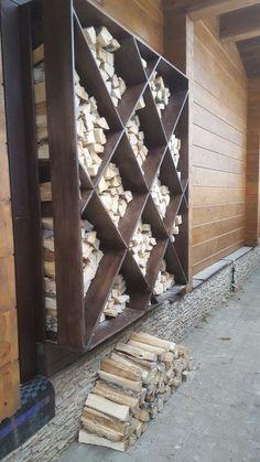 44 Simple Indoor Firewood Storage Design Ideas On A Budget Outdoor Firewood Rack, Firewood Holder, Firewood Shed, Indoor Firewood Storage, Outdoor Living, Outdoor Decor, Indoor Outdoor, Backyard Landscaping, Garden Design