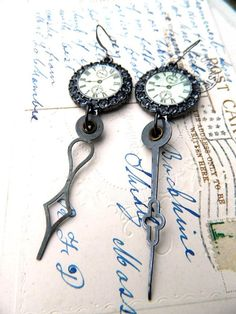 Steampunk Earrings Repurposed Clock Hands by FleaMarketGal on Etsy, $22.00