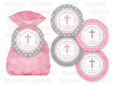 Printable DIY Pink and Grey Baptism or First by PapercutsPartyShop