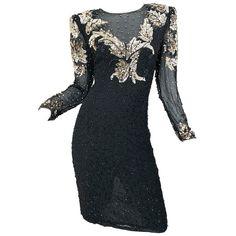 b5eaf8128e7 Gorgeous 90s Sz 6 Silk Chiffon Black + Silver + Gold Sequin Beaded Vintage  Dress
