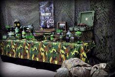 Call of Duty | CatchMyParty.com Camouflage Birthday Party, Army Themed Birthday, Army Birthday Parties, Army's Birthday, Camo Party, Hunting Birthday, Golden Birthday, Happy Birthday, Paintball Party