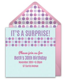 Don't miss this collection of FREE birthday party invitations. We love this fun, colorful design for a surprise birthday party. Perfect for a milestone 30th birthday.