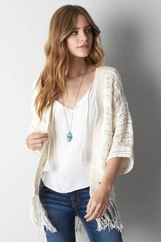 AEO Crochet Fringe Kimono by AEO | Perfect the art of romantic layering. Shop the AEO Crochet Fringe Kimono and check out more at AE.com.