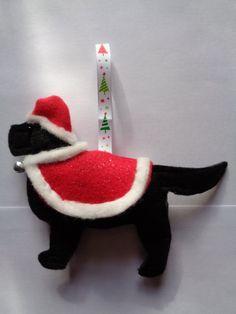 Handmade black felt Christmas Flat coated retriever dog hanging decoration by CraftyBunnyDog on Etsy