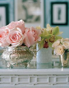 Pretty. Roses in #antique silver teapot