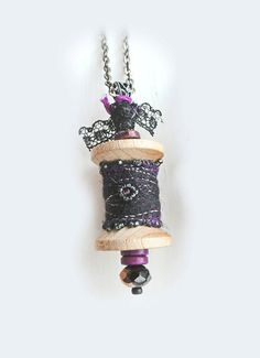 Spool Pendant with Black Felt Wrap by QueenofCuffs on Etsy, $27.00
