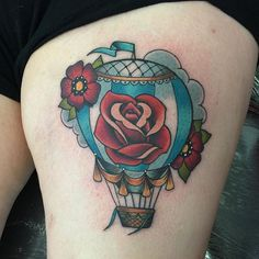 Hot air balloon done this morning. #tattoo #tattoos #hotairballoon #hotairballoontattoo #rose ...