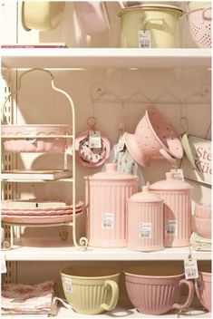 Love this baby pink vintage china kitchen stuff.