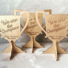 Wooden trophies for party favors. #personalized #soccerparty #partyandcogr #boysparty #partyfavors