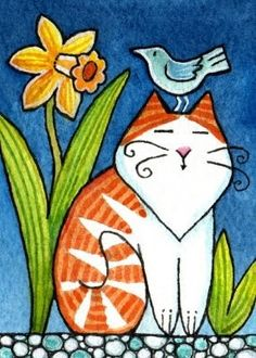 Whimsical Cat and Bird Susan Faye - Cat Art - Chat Wal Art, Cat Quilt, Owl Quilts, Baby Quilts, Illustration Art, Illustrations, Cat Colors, Cat Drawing, Cat Design