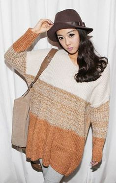 Loose Color Matched Loose Sweater - BuyTrends.com