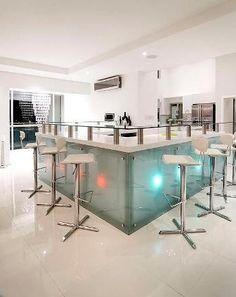 glass bar by Evolution Back Painted Glass, Glass Bar, Glass Floor, Funky Furniture, Evolution, Flooring, Business, Building, Kitchen