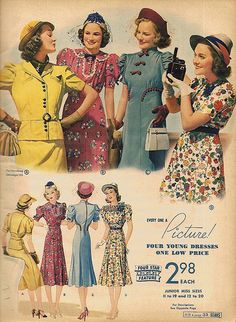 A wonderful array of 1930s fabric patterns and dress styles. #vintage #fashion #1930s #dress #hat
