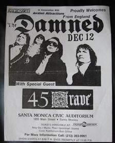 The Damned 1985 Flyer Santa Monica 45 Grave Goldenvoice Avalon Band Punk Show Concert Flyer, Concert Posters, Music Posters, Punk Poster, Poster On, Rock Band Posters, Club Flyers, Dangerous Minds, Vintage Lettering