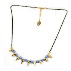 Punk Style Light Sapphire Beads and Rivet Gold Plated Necklace DC7N501 $3.50