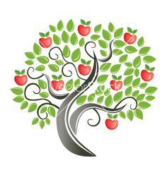 Apple tree vector 8106 - by AnnaNizami on VectorStock®