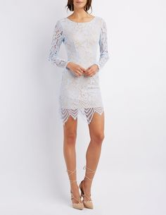 Long sleeve sheer lace dress charlotte