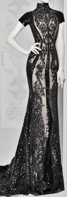 Michael Cinco Sexy Embellished Black  Lace Gown