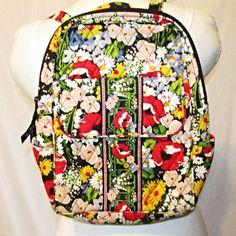 Vera Bradley Poppy Fields Backpack Bookbag Purse Retired 8e538e631d0ee