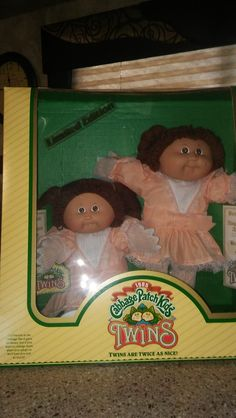 """""""1985 Cabbage Patch Kids Limited Twin Edition"""". These sweet twin girls have been kept in box and the dolls are in like new condition. They are so cute with their lace gloves on. The names of the twins are Edna Peg and Hilde Jodi."""