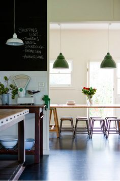 Green Light Fixture and Chalkboard Paint in Kitchen - Simon Whitbread