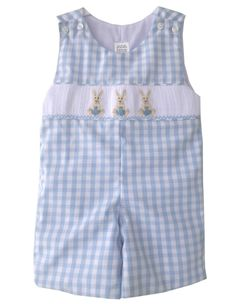 Little Boys Shortall with Smocked Easter Bunnies, blue outfit romper, coordinated matching brother sister sibling clothing hand made.  17977 by CarouselWear on Etsy https://www.etsy.com/nz/listing/267062810/little-boys-shortall-with-smocked-easter