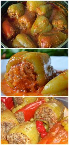 Pimentão recheado cozido em molho de tomate