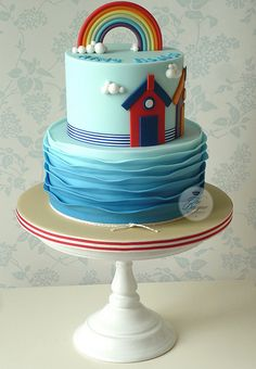 """I like the bottom tier for a baptism cake, it looks like water. We could do the dove and """"God Bless Cora"""" on top from the other cake, then it would represent the water and Holy Spirit Cupcakes, Cupcake Cakes, Gorgeous Cakes, Pretty Cakes, Amazing Cakes, Cakepops, Beach Themed Cakes, Theme Cakes, Christening Cake Boy"""