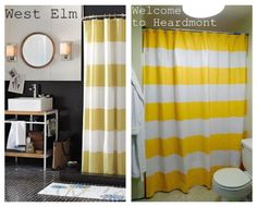 Tutorial on making your own striped shower curtain for $20. Could easily be adapted to make your own design.