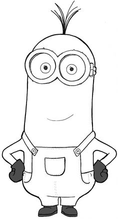 Finished Black and White Drawing of Kevin from the new Minions movie and Despicable Me. ,How to Draw Kevin from The Minions Movie 2015 in Easy Steps Lesson, Minion Sketch, Minion Drawing, Minion Art, Minion Coloring Pages, Disney Coloring Pages, Coloring For Kids, Coloring Books, Colouring, Frozen Coloring