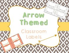 Arrow and Tribal Theme Classroom Labels - CORAL NAVY MINT GOLD - small labels for tubs, lockers, supplies