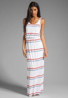 SPLENDID Hermosa Slub Stripe Dress in Soft White - Maxi