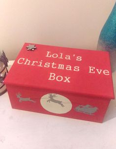 Handmade Solid Wood personalised christmas eve box in red with handpainted design. Christmas Baby, Christmas Ideas, Christmas Crafts, Christmas Decorations, Personalised Christmas Eve Box, Engraving Ideas, Family Traditions, Tis The Season, Solid Wood