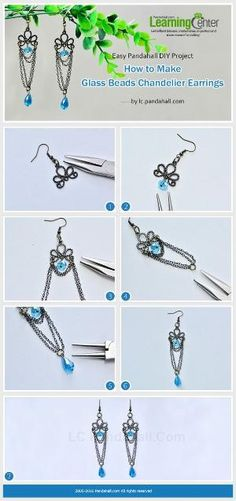 Easy Pandahall DIY Project- How to Make Glass Beads Chandelier Earrings from LC.Pandahall.com | Jewelry Making Tutorials & Tips 2 | Pinterest by Jersica