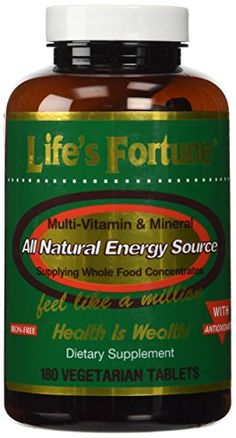 Lifes Fortune MultiVitamin  Mineral All Natural Energy Source Supplying Whole Food Concentrates  180 Tabs >>> More info could be found at the image url.
