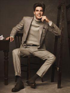 Men's Style, Men's Fashion & All things Dapper! Gq, Sharp Dressed Man, Well Dressed Men, Turtleneck Suit, Cashmere Turtleneck, Stylish Men, Men Casual, Costume Gris, Flannel Suit