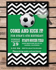 Gorgeous Green and White Soccer 4th Birthday Party Invitation Card with Black and White Zig Zag Motive and White Letters and also White Ball