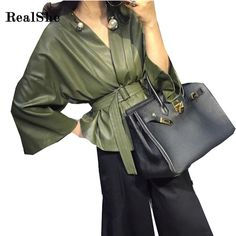 Check lastest price RealShe Autumn Green Faux Leather Jacket Women Jacket Zip Belt Coats chaqueta Blazer PU Jack Rock cuir femme casaco 2017 just only $28.89 with free shipping worldwide  #womanjacketscoats Plese click on picture to see our special price for you