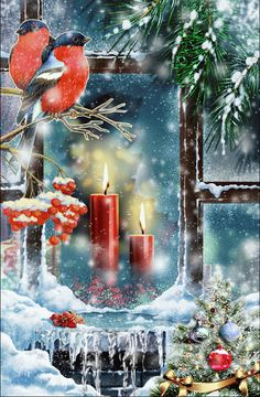 Merry Christmas & Happy New Year ! Christmas Tree Gif, Christmas Scenery, Christmas Candles, Christmas Wood, Christmas Greetings, Winter Christmas, Christmas Time, Christmas Decorations, Vintage Christmas Images
