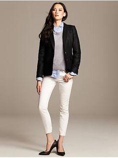 white jeans, blue button down blouse, grey sweater, black shoes