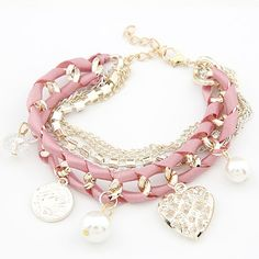 Corean Lovely Multilayer Pink Crystal And Pearl Embellished Bracelet_Bracelet_Jewellery_Cheap Clothes,Cheap Shoes Online,Wholesale Shoes,Clothing On lovelywholesale.com - LovelyWholesale.com  $3.50