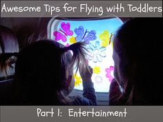 A huge list of ideas for entertaining your toddler while travelling, especially on an airplane.