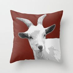 Goat Red Pillow Cover 16x1618x1820x20 home by BacktoBasicsPillows