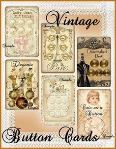 Cartes Vintage bouton téléchargement par SenecaPondCrafts sur Etsy